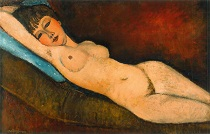 Amedeo Modigliani Reclining Nude With Blue Cushion 1917