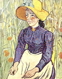 Vincent van Gogh - Peasant Woman Against a Background of Wheat 1890