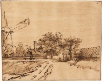 Rembrandt Harmensz. van Rijn - The ramparts near the bulwark beside the city gate at St. Anthonispoort, Amsterdam 1660