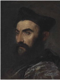 Tiziano Vecellio, called Titian - Portrait of a cleric, bust-length, in a blue coat and black hat 1485-1576
